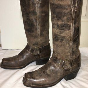 FRYE Harness Boots VTG USA - Sz 9 Distressed NICE!
